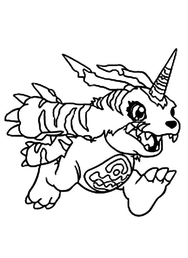Digimon, : Gabumon Digimon Running to Welcome Yamato Ishida Coloring Page