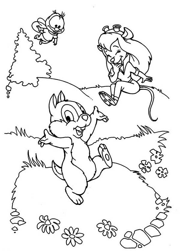 Chip and Dale, : Gadget is Laughing at Dale in Chip and Dale Coloring Page