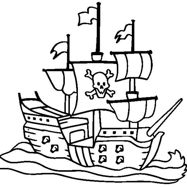 Boat, : Galleon Boat Coloring Page