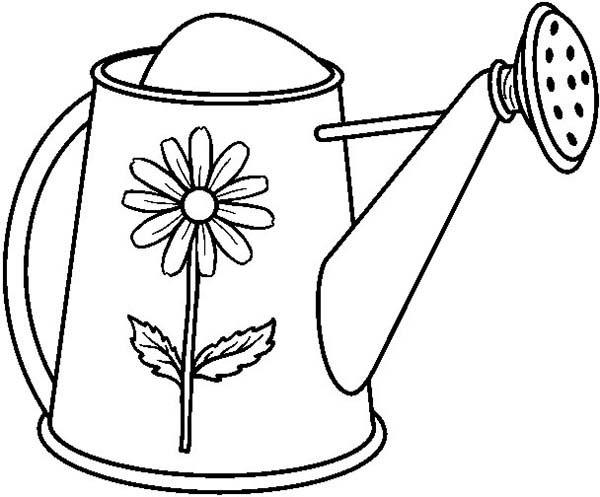 Watering Can, : Garden Watering Can Coloring Page