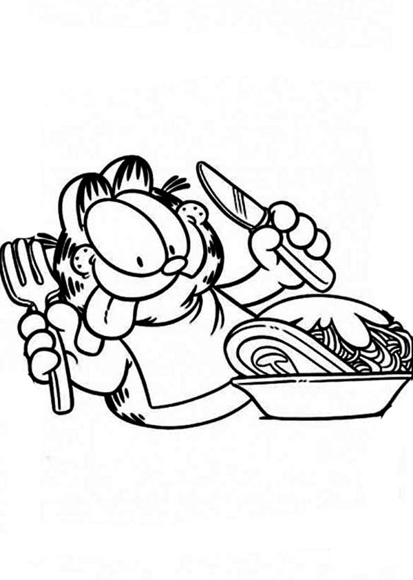 Breakfast, : Garfield Use Fork and Knife for Breakfast Coloring Page