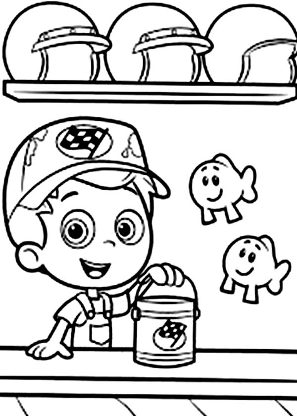 Bubble Guppies, : Gil Holding a Bucket in Bubble Guppies Coloring Page