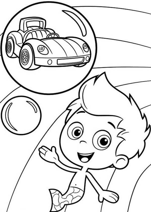 Bubble Guppies, : Gil Want to Have a Car in Bubble Guppies Coloring Page