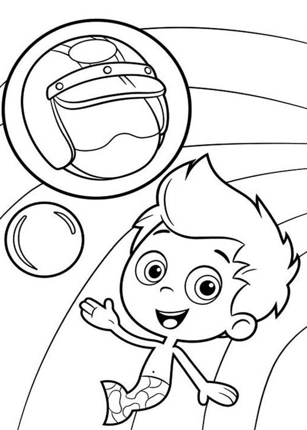 Bubble Guppies, : Gil and His Awesome Helmet in Bubble Guppies Coloring Page