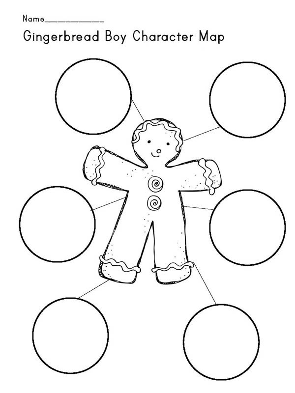 Gingerbread Men, : Gingerbread Men Character Map Coloring Page