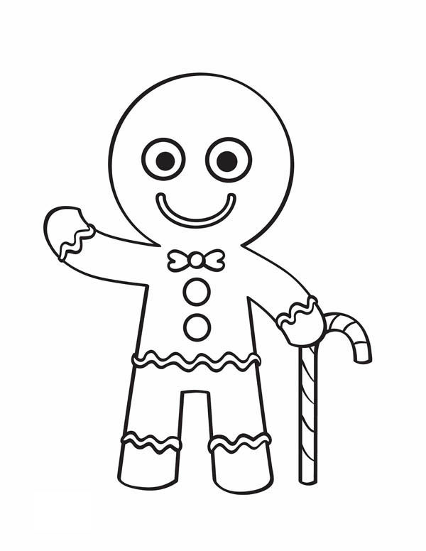 Gingerbread Men, : Gingerbread Men and Candy Cane say Hallo Coloring Page
