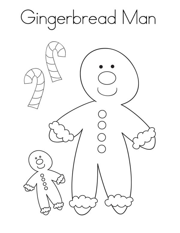 Gingerbread Men, : Gingerbread Men and Two Candy Cane Coloring Page