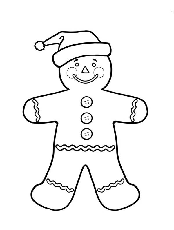 Gingerbread Men, : Gingerbread Men as Santa Claus Coloring Page