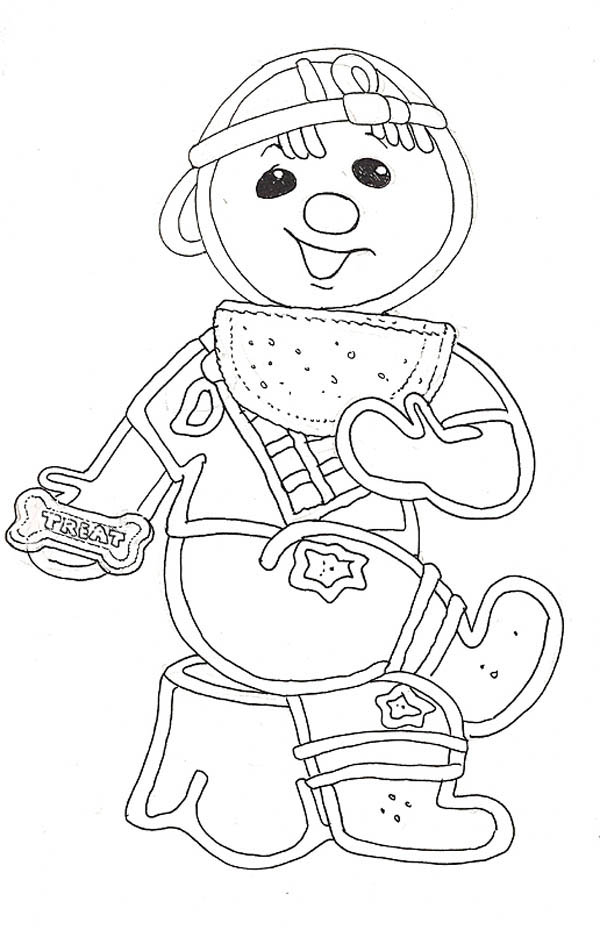 Gingerbread Men, : Gingerbread Men as a Kid Coloring Page