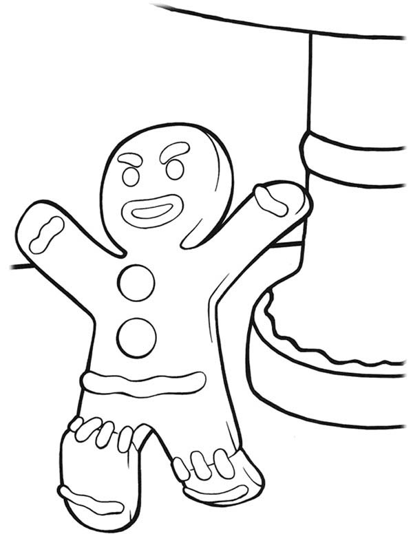Gingerbread Men, : Gingerbread Men is Angry Coloring Page