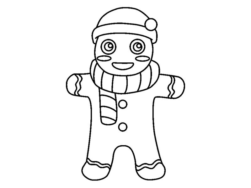 Gingerbread Men, : Gingerbread Men with Hat and Scarf Coloring Page