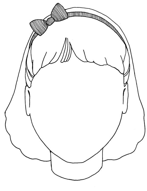 Face, : Girl Blank Type of Face Coloring Page