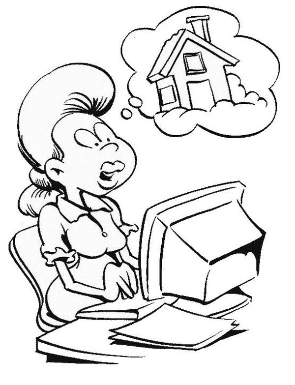 Computer, : Girl Drawing a House with Computer Coloring Page