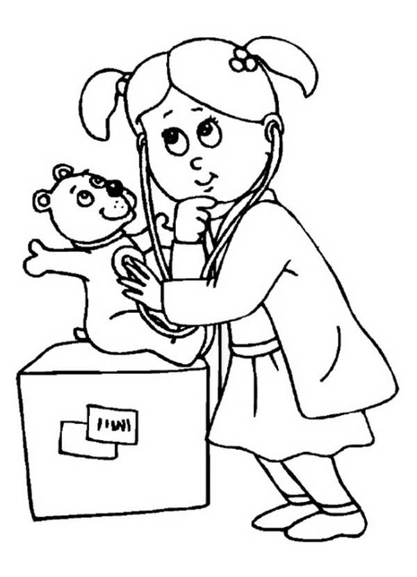 Doctor, : Girl Dressed as Doctor Coloring Page