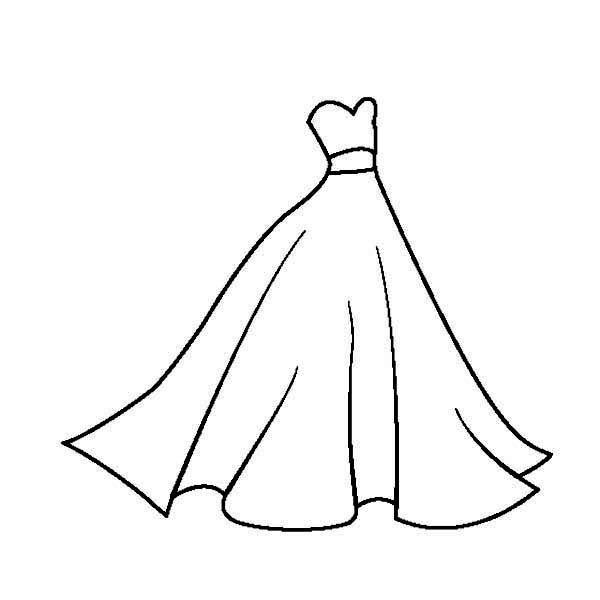 Dress, : Glamorous Wedding Dress Coloring Page