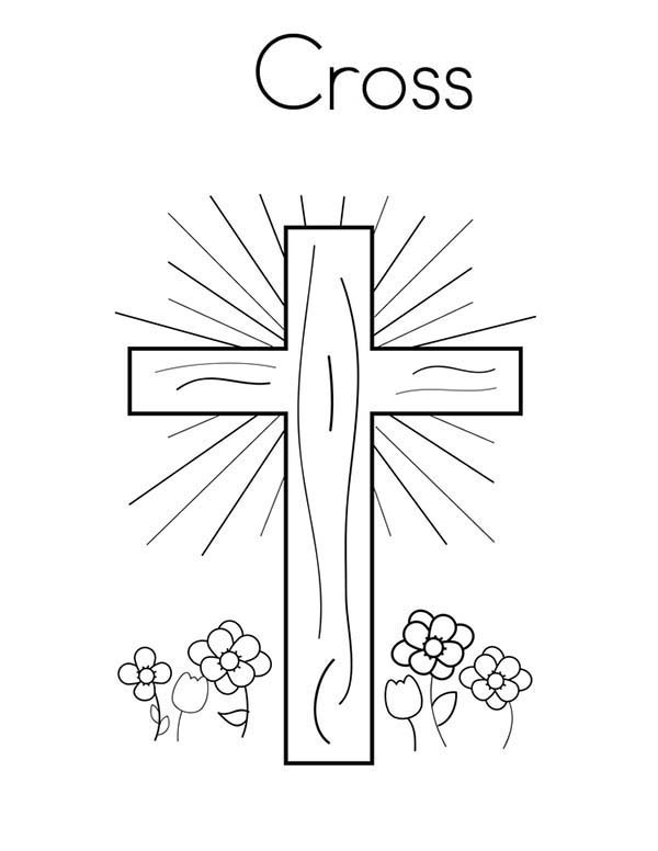 Cross, : Glowing Light on Cross Coloring Page