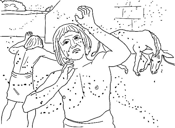 10 Plagues of Egypt, : Gnats or Lice Throughout All the Land of Egypt in 10 Plagues of Egypt Coloring Page