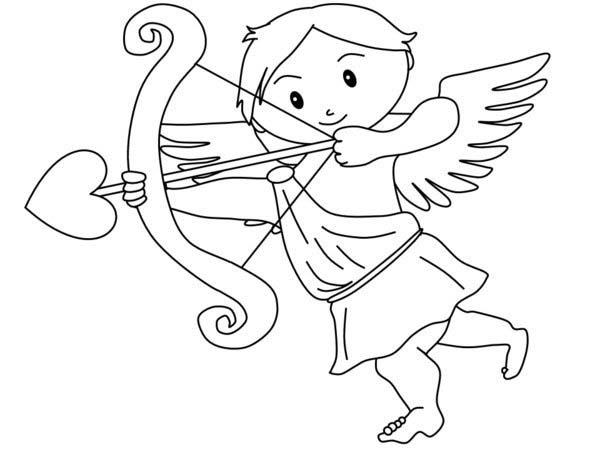 Cupid, : Greek God of Love Cupid Coloring Page