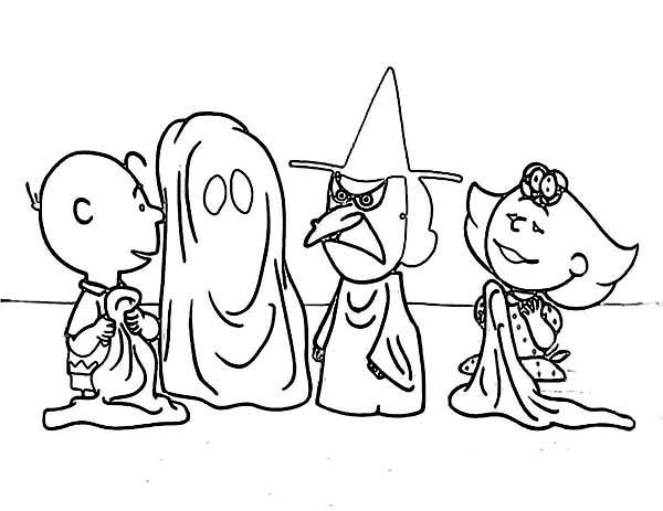 Charlie Brown, : Halloween Peanuts Charlie Brown Coloring Page