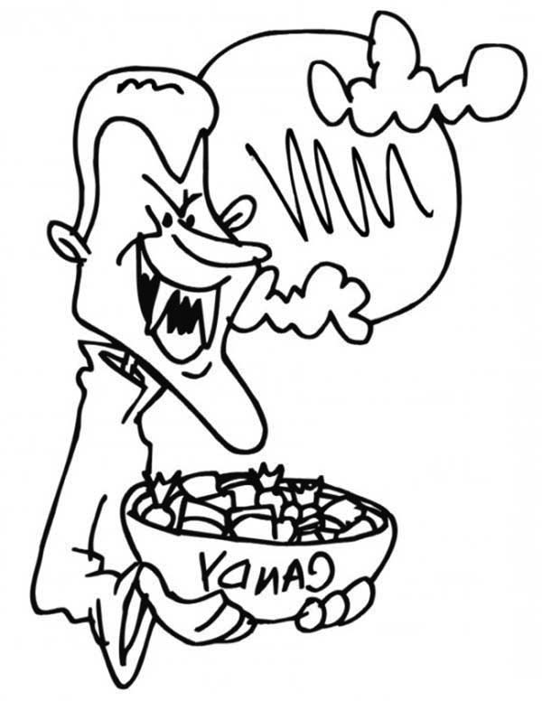 Vampire, : Halloween Vampire Give Us Candy Coloring Page