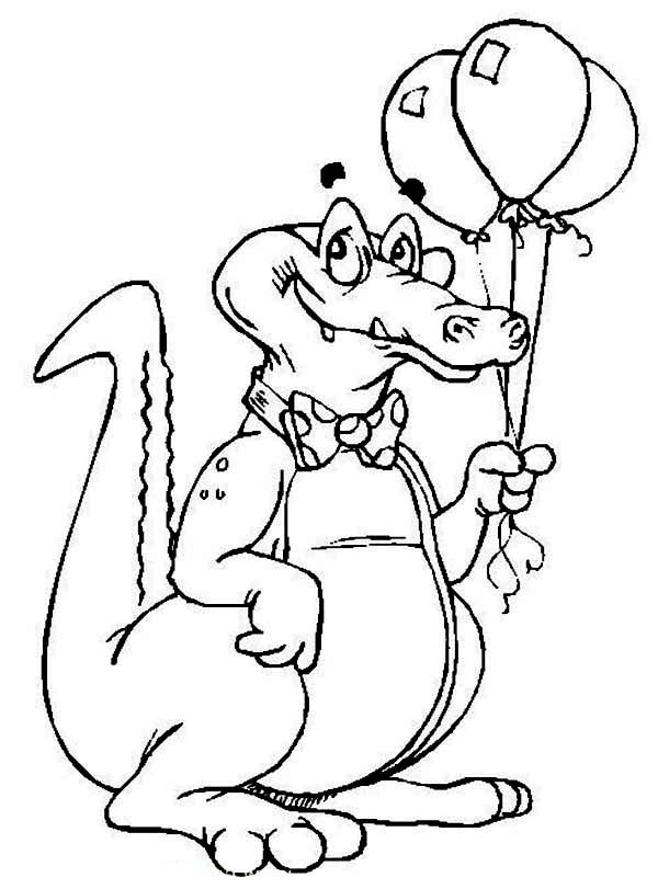 Crocodile, : Happy Birthday Crocodile Holding Three Balloons Coloring Page