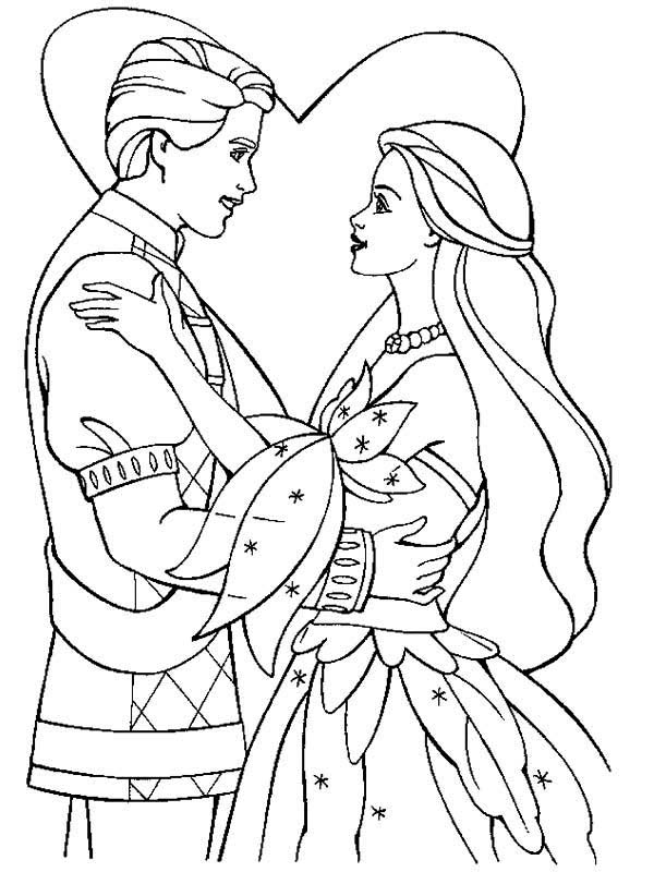 Wedding, : Happy Couple in Their Wedding Day Coloring Page