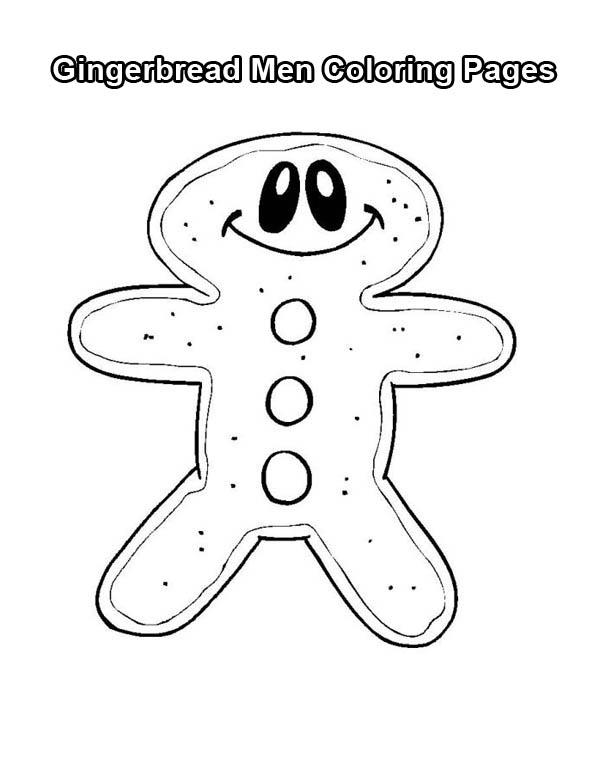 Gingerbread Men, : Happy Gingerbread Men Coloring Page
