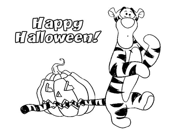 Tigger, : Happy Halloween with Tigger Coloring Page