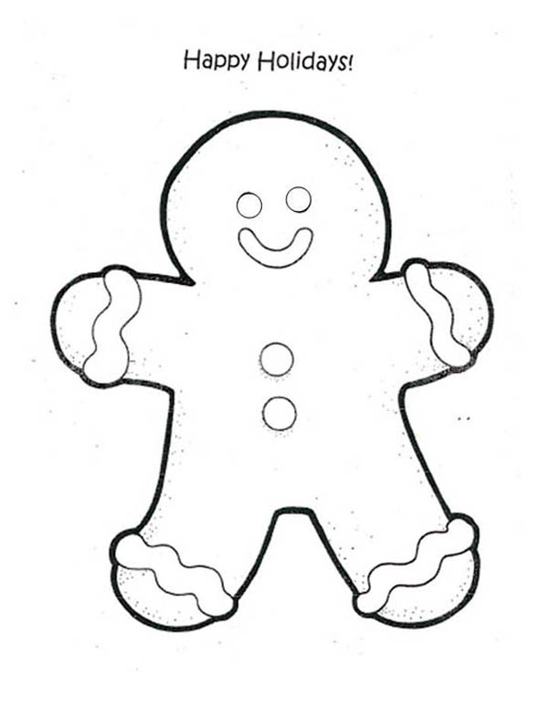 Gingerbread Men, : Happy Holidays say Gingerbread Men Coloring Page