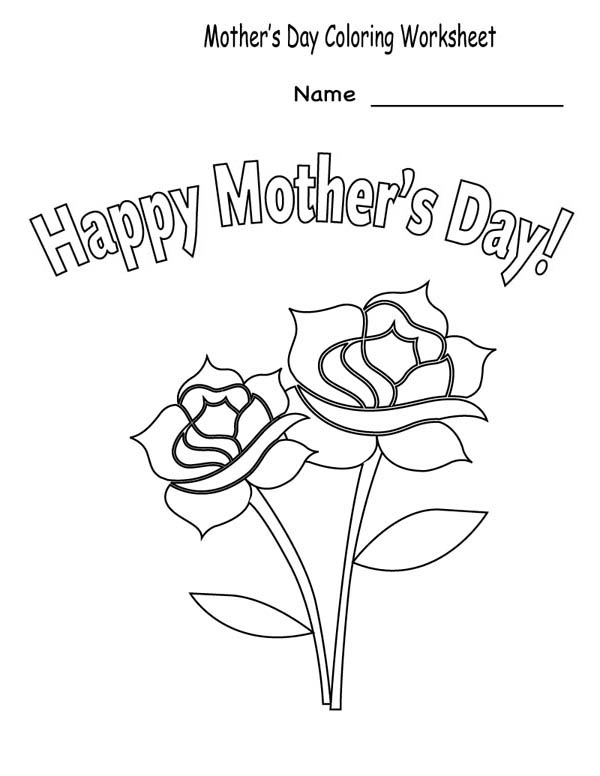 Mothers Day, : Happy Mothers Day Coloring Page for Kids