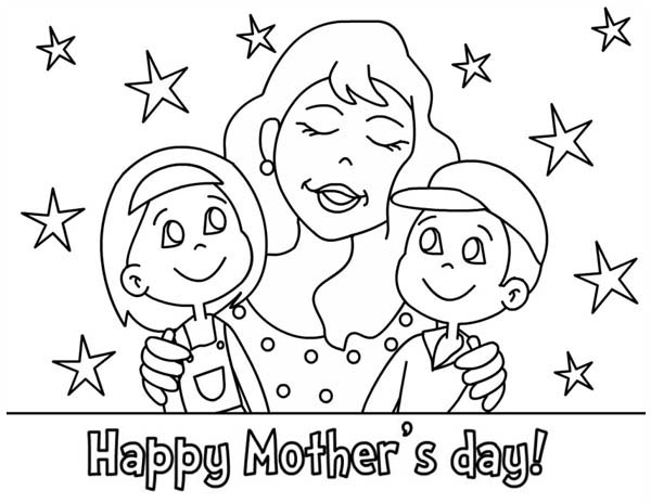 Mothers Day, : Happy Mothers Day for Loving Mother Coloring Page
