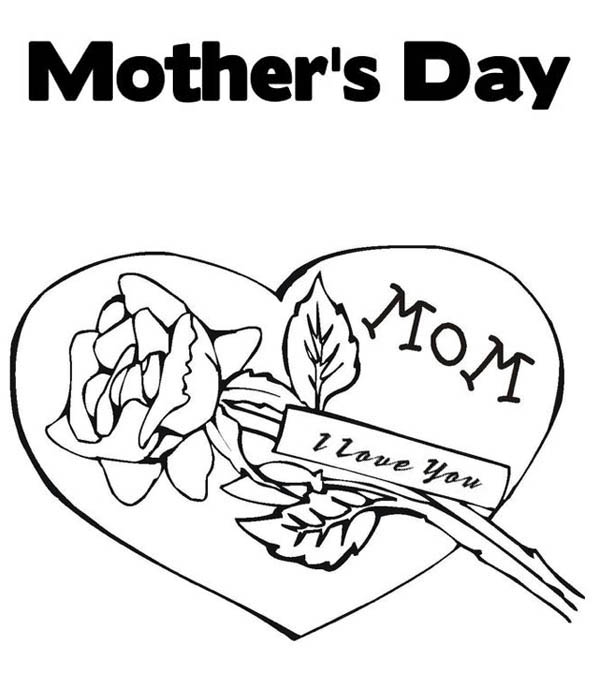 Mothers Day, : Happy Mothers Day for My Mommy Coloring Page