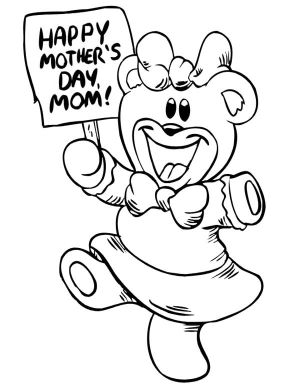 Mothers Day, : Happy Mothers Day from Little Bear Coloring Page