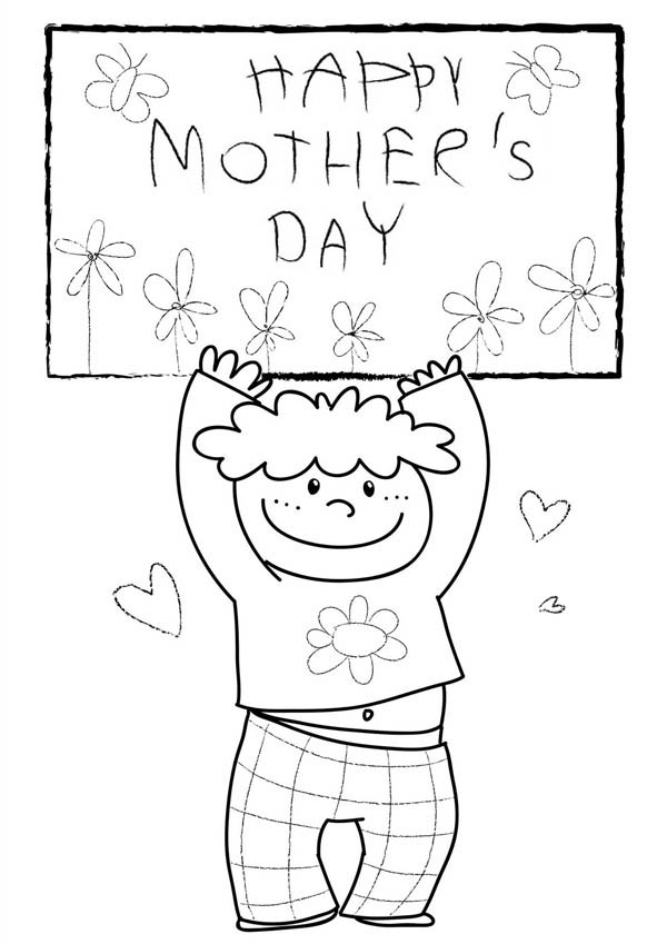 Mothers Day, : Happy Mothers Day from My Little Boy Coloring Page