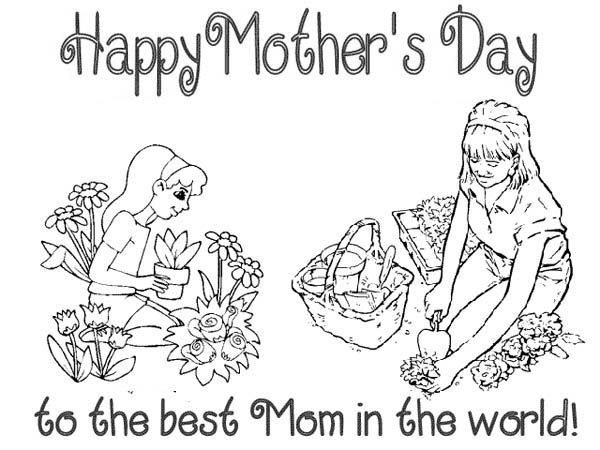 Mothers Day, : Happy Mothers Day to the Best Mom in the World Coloring Page