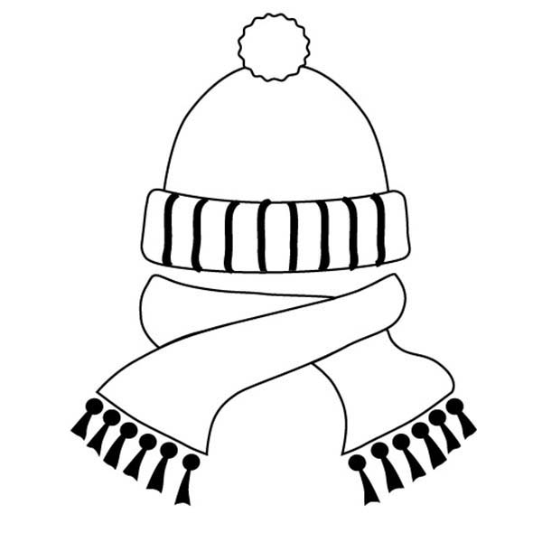 Winter Clothing, : Hat and Scarf in Winter Clothing Coloring Page
