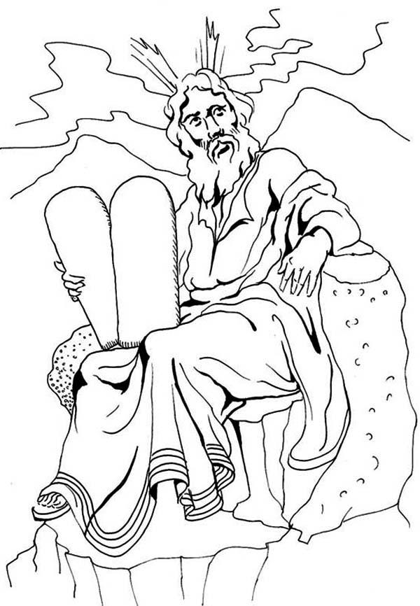 Ten Commandments, : Hebrew Bible Ten Commandments Coloring Page
