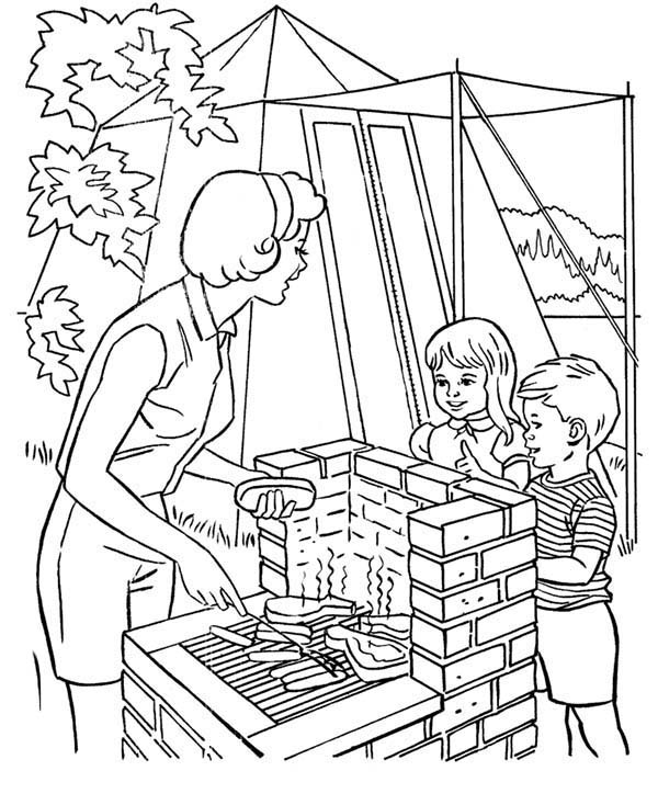 Camping, : Helping Mother Cooking at Camping Coloring Page