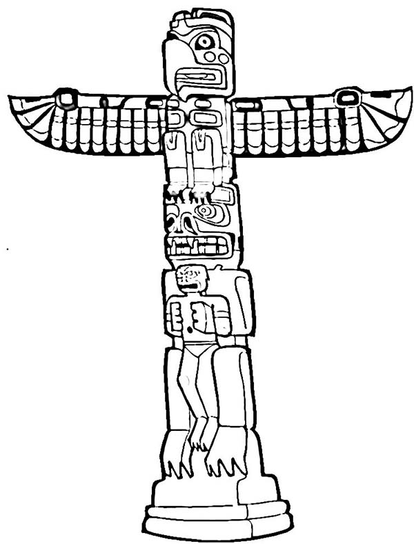 Native American Day, : History of Native American Totem on Native American Day Coloring Page