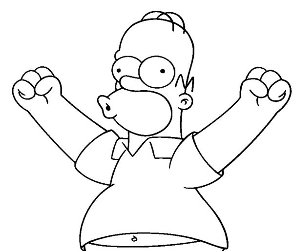 The Simpsons, : Homer Simpson Excited to do Something in the Simpsons Coloring Page