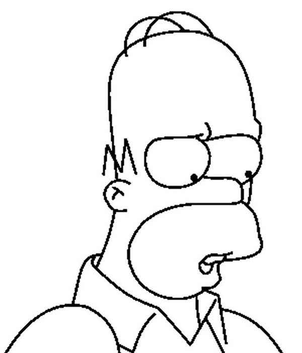 The Simpsons, : Homer Simpson Look so Sad in the Simpsons Coloring Page