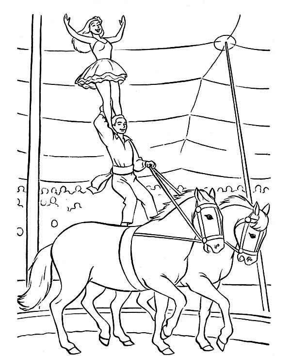 Circus, : Horse Attraction at Circus Coloring Page