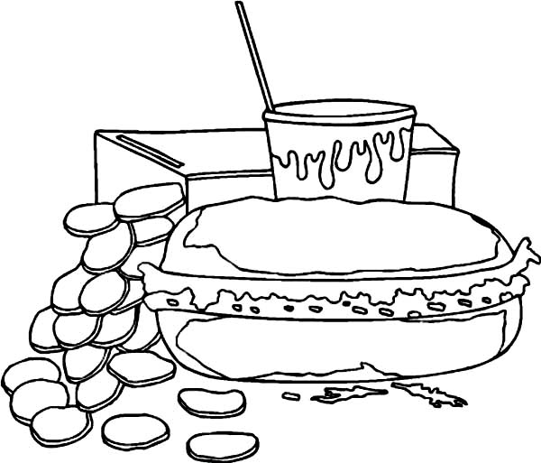 Breakfast, : Hot Dog for Breakfast Coloring Page