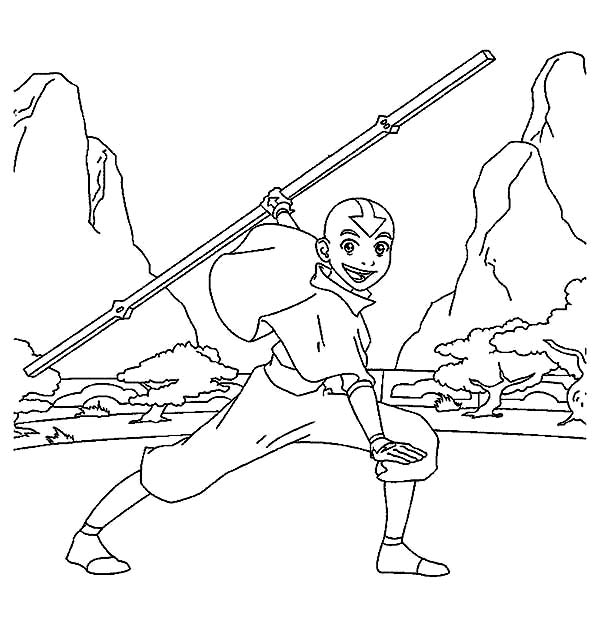 Avatar the Last Air Bender, : How to Draw Aang from Avatar the Last Air Bender Coloring Page
