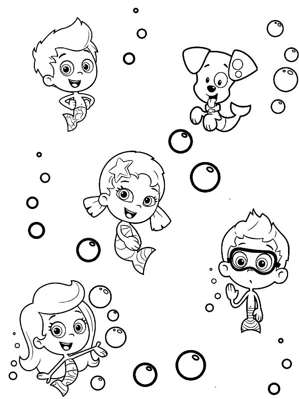 How To Draw Characters From Bubble Guppies Coloring Page Coloring Sun