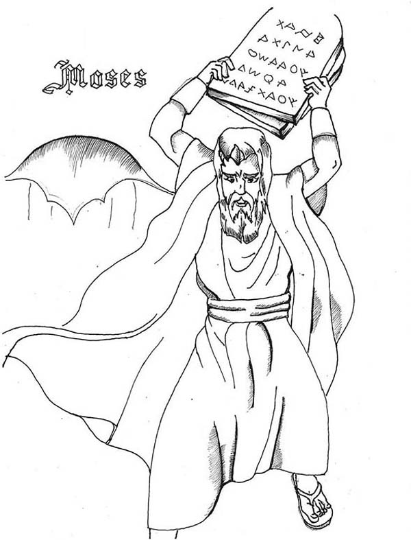 Ten Commandments, : How to Draw Moses and Ten Commandments Coloring Page