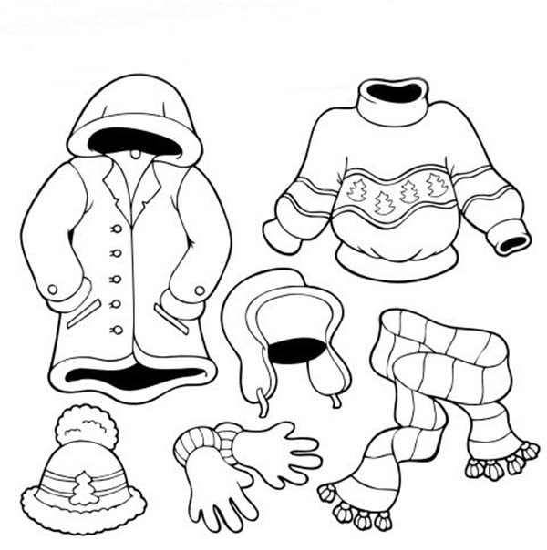 Winter Clothing, : How to Draw Winter Clothing Coloring Page