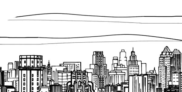 City, : How to Draw a City Coloring Page