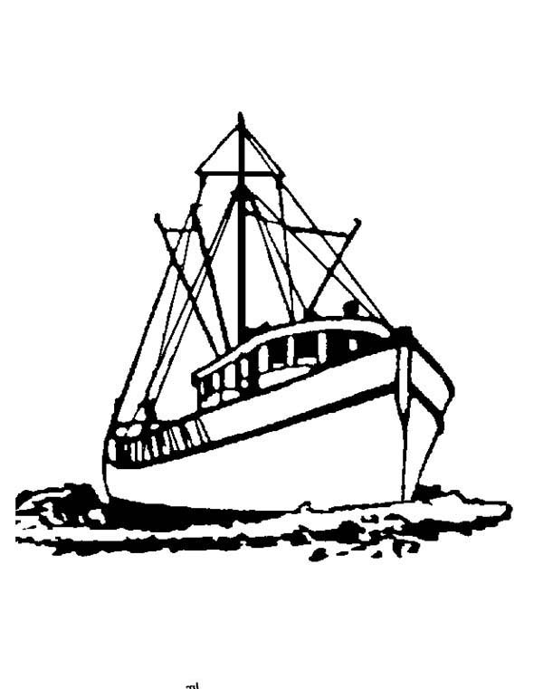 Boat, : How to Draw a Fishing Boat Coloring Page