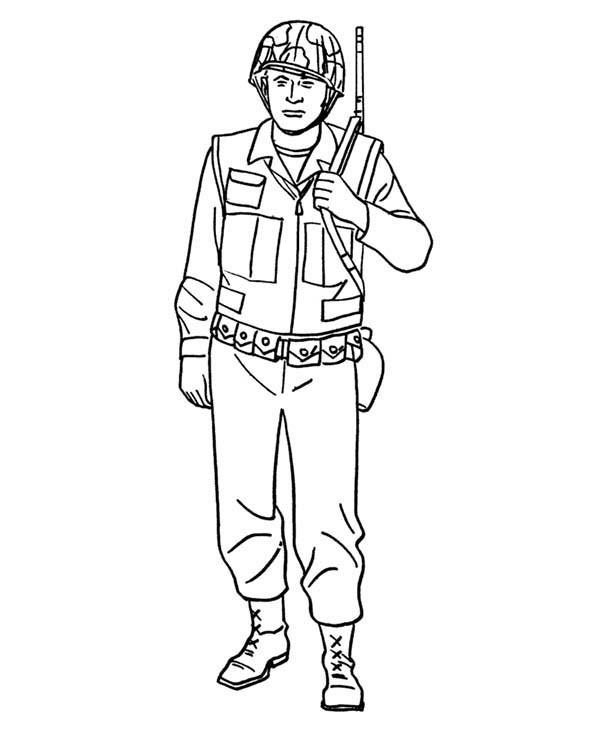 Armed Forces Day, : How to Draw a Soldier in Armed Forces Day Coloring Page